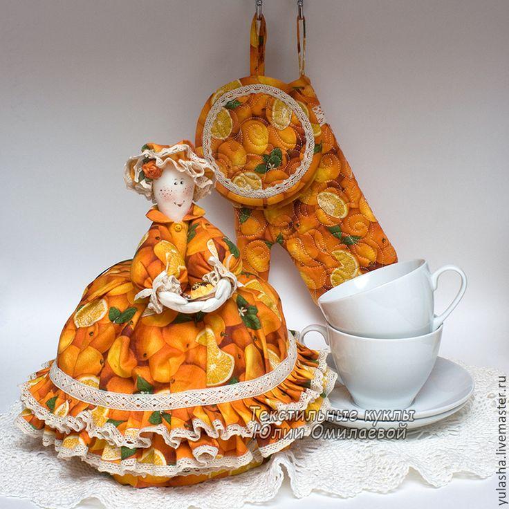 """warmer for teapot Грелка на чайник. Красивые подарки. Набор для кухни """"Апельсиновый кекс"""" - грелка для чайника, кукла в подарок, интерьер кухни, для кухни"""
