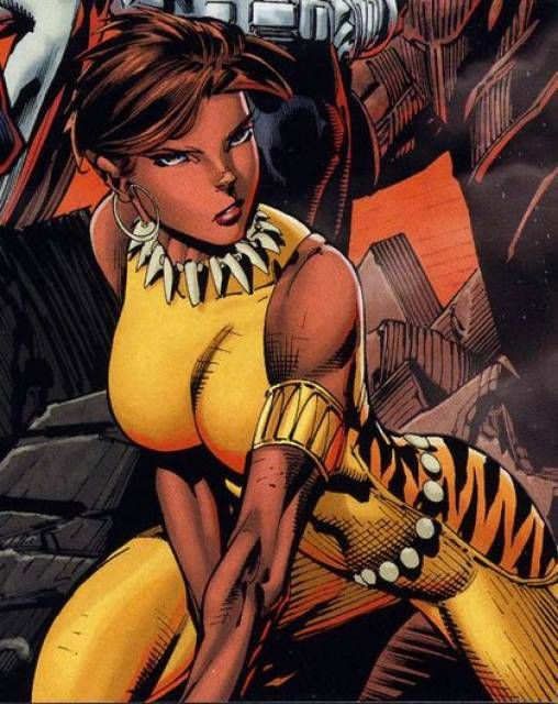 Mari Jiwe McCabe also known as Vixen carries a magical Tantu totem that was once thought to augment her ability to make contact with the Earth's Morphogenic field by increasing her natural range from 150ft enabling her to channel the powers of the animal kingdom with a thought . She has been a JLA and Suicide Squad member, a model and successful business woman.
