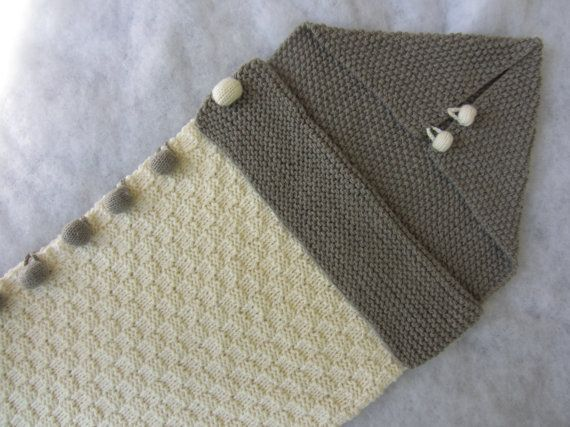 Hand knit pure merino baby bunting bag. For babies by KNITLEBITS