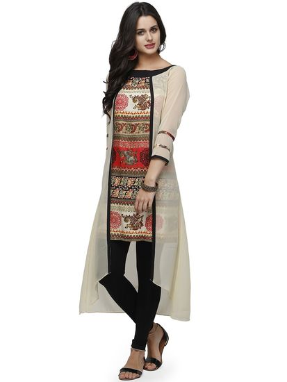 High-low kurti. Read more http://fashionpro.me/23-types-of-kurti-designs/3