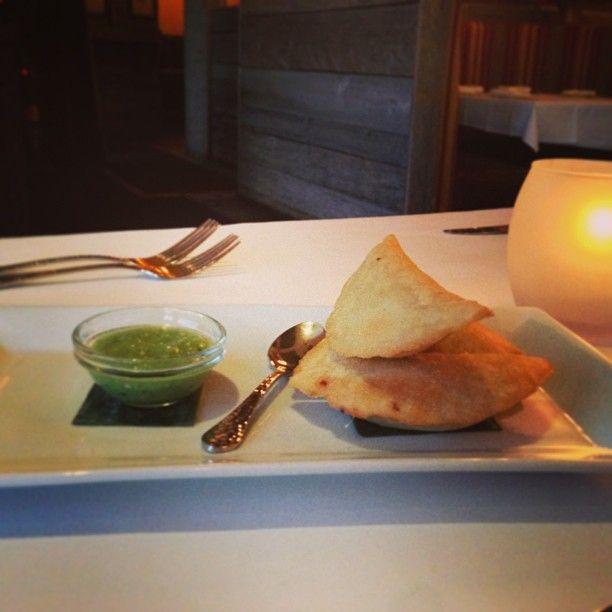 12-28-12 #West #Hartford,, #CT: Empanadas de Langosta - Three empanadas filled with #lobster, served with a #chipotle cream.