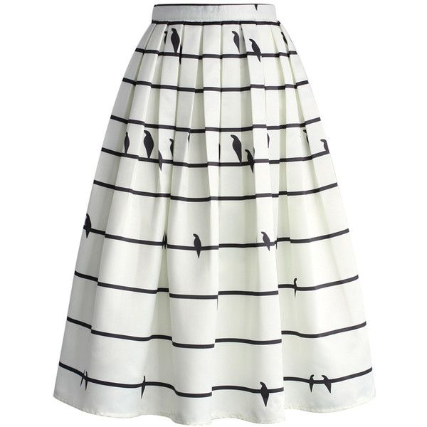 Chicwish Sing a Love Song Printed Midi Skirt (57050 IQD) ❤ liked on Polyvore featuring skirts, bottoms, white, knee length pleated skirt, striped skirt, calf length skirts, pleated skirt und striped pleated skirt