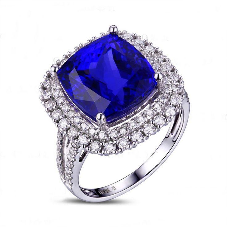 GAÏA Bague Tanzanite avec Diamant en or blanc