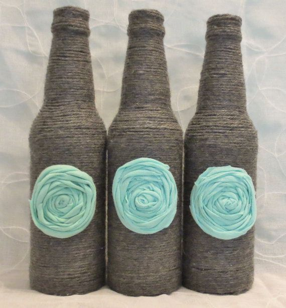 Grey Yarn Wrapped Bottles Aqua Rosettes Turquoise by OrangeCreek