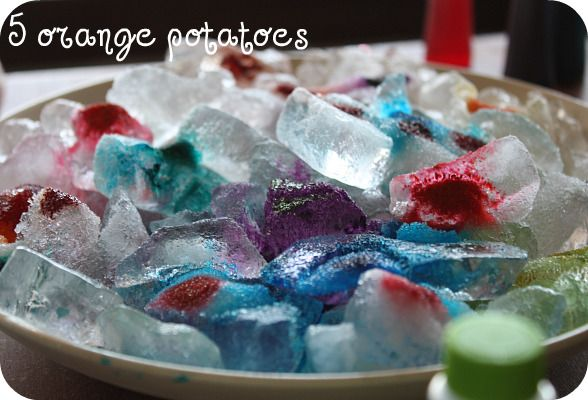 Do you know what happens when you add food coloring to ice and table salt? --find out here:)