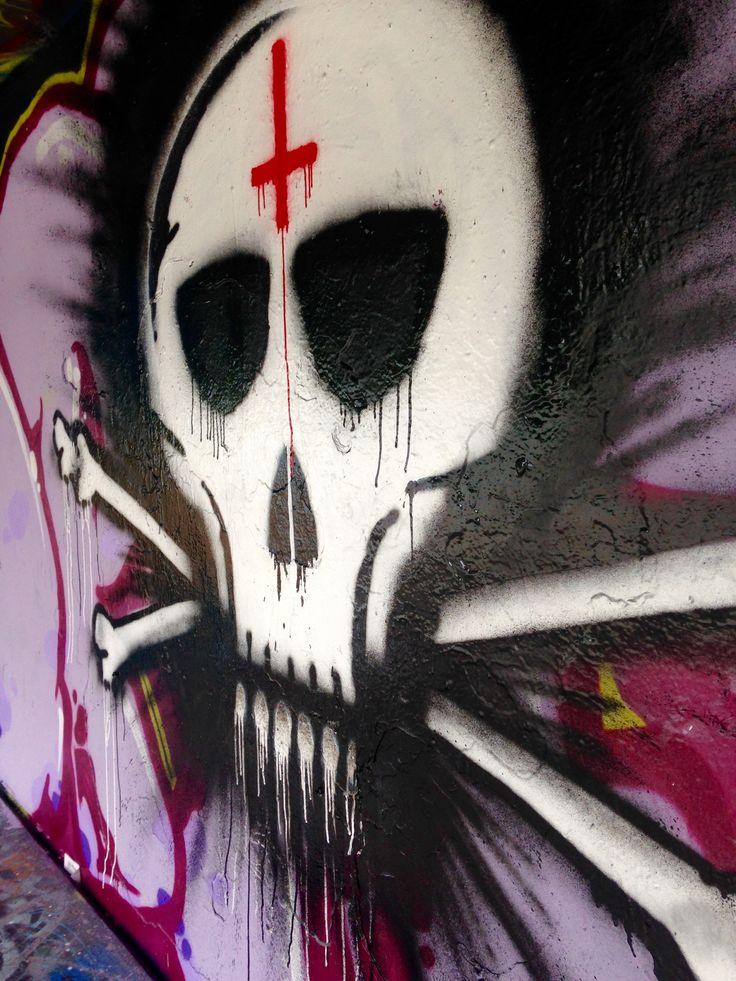 Skullyblood... close-up. Let the spray can run, Church of Skatin forever SkullyBloodrider Sunday 16.7.2017.
