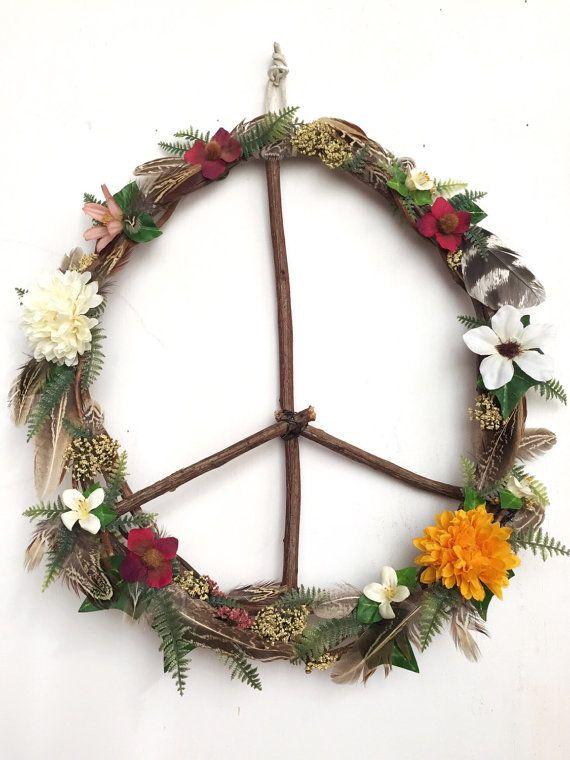 Boho Hippie Wildflowers + Feathers Peace Wreath