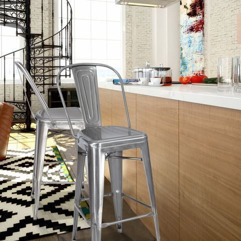 This set of two stylish, iron bar stools is a unique, modern addition to your dining room or living room high top table. With colors that keep low profile in a glossy finish, these eye-catching stools are definite conversation pieces.