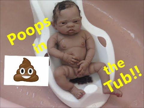 Silicone Baby Poops In Bath Tub I Reborn Baby Dolls Poop