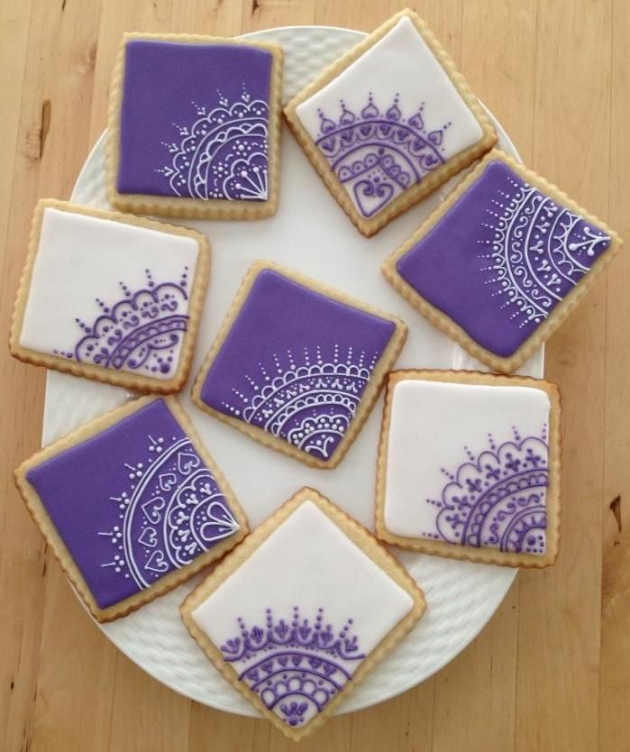 Purple Cookies | Purple & White Intricate Cookies | Cookie Connection