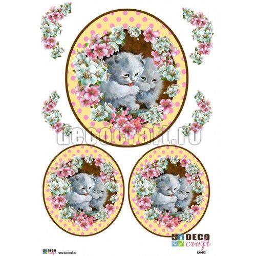 Hartie Decoupage Clasica : Hartie decoupage A4 - Pisicute albe si flori