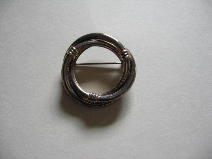 Vintage Sterling Silver Three Circle Infinity Brooch Pin 7.9 grams | eBay