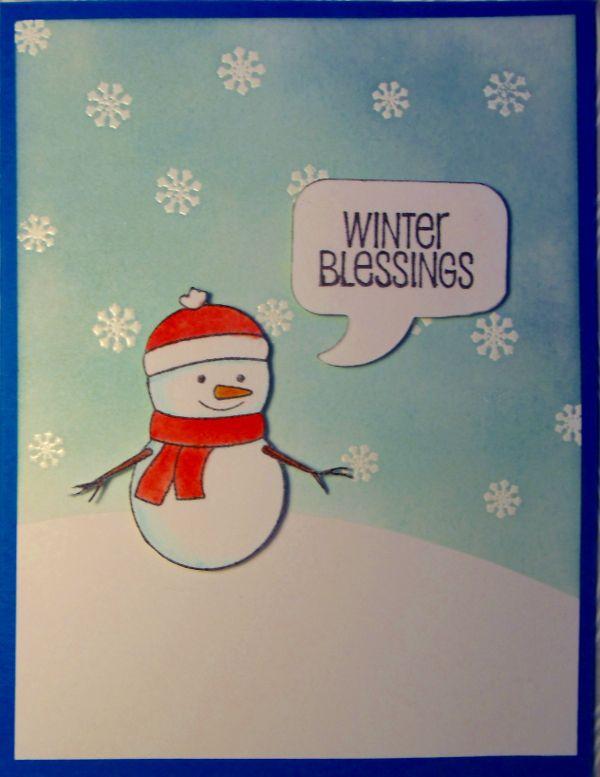 Eine Wintergrußkarte ... der Schneeflockenstempel ebenfalls von PP-Stamps, Schneemann und Spruch von Gina K. Designs.