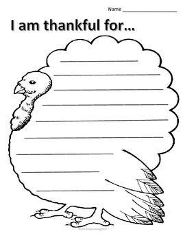 Thanksgiving Writing - I am Thankful Sheets