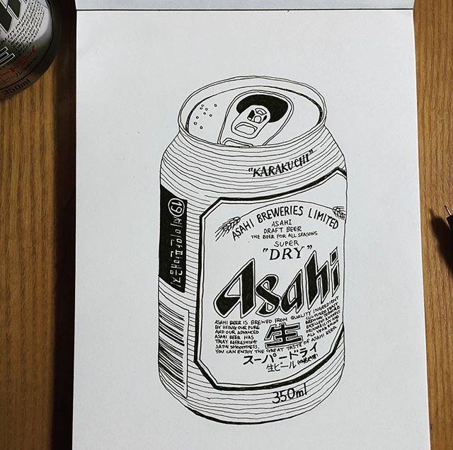 디테일 쩌는 이런류의 그림을 그려보고싶어서. #음주미술  #완전내스타일 . . . . ... #아사히맥주 #asahi #beer #can #drawing #pendrawing #술스타그램 #그림스타그램 #펜화 #드로잉 #정교하게 #디테일 #그림그리기 #art #artstagram #1일1그림 #일상 #daily