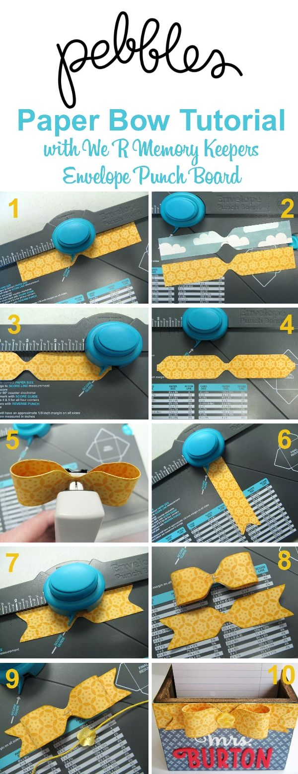 3D Bow Tutorial by Mendi Yoshikawa using Envelope Punch Board from @WeRMemoryKeepers @PebblesInc. @SnippetsByMendi