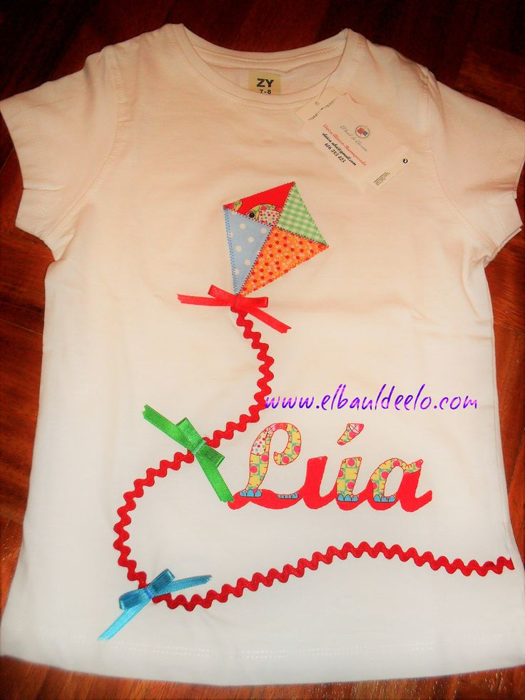 www.elbauldeelo.com aplicacion camiseta patchwork cometa colores