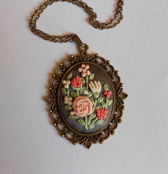 Flower Bouquet Necklace Handmade Necklace by RedWorkStitches