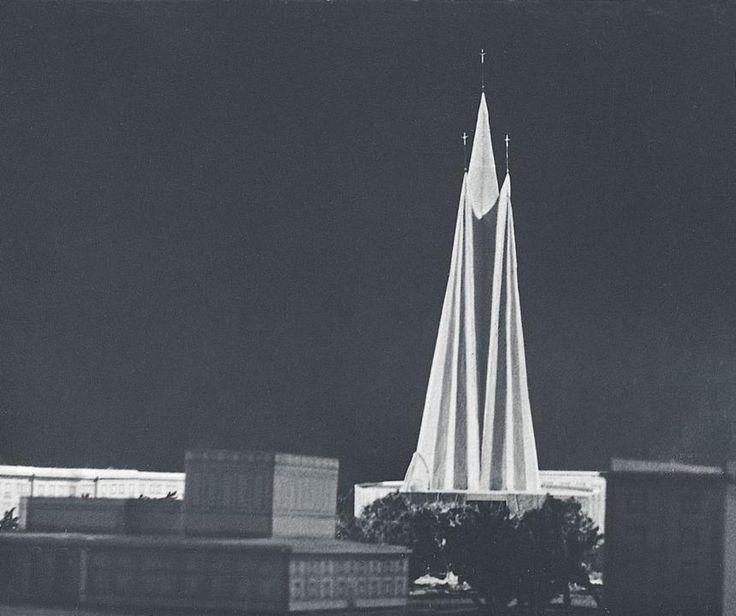 Nowa Huta – Niezrealizowany projekt kościoła na Osiedlu C-1 (Teatralnym), I nagroda w konkursie SARP w 1957 roku, autor: Zbigniew Solawa