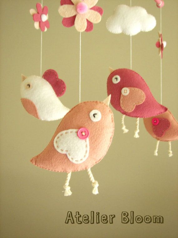 "Items similar to Baby crib mobile, Bird mobile, girl mobile ""Bird - rose"" on Etsy"