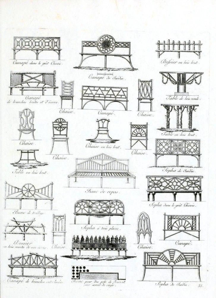 Bench design for front garden Vintage Printable at Swivelchair Media - Beta | Design – Architectural – Garden