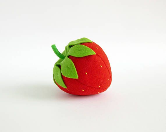 This listing includes 1 toy Strawberry I suggest you to buy realistic stuffed toys, made of felt for your little ones. For playing the Garden Harvest Kitchen Shop etc. ————————————————————— ♥ unique design, are just like real ♥ small (2 ½ in) and light (0,3 oz) ♥ safe for your children - do