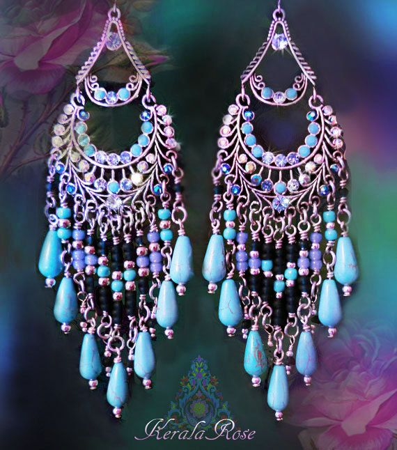 Long Blue and Silver Bohemian Chandelier Earrings Large от kerala