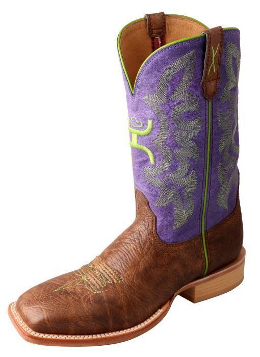 Women's Hooey Boot – Brown Shoulder/Purple – Twisted X