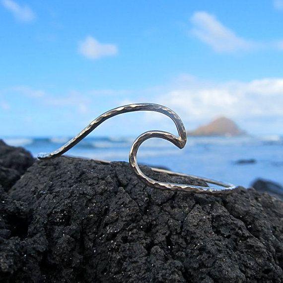 Silver Wave Bangle, Hammered Bracelet, Surfer Girl, Hawaii Beach Jewelry, Ocean,  Summer Fashion