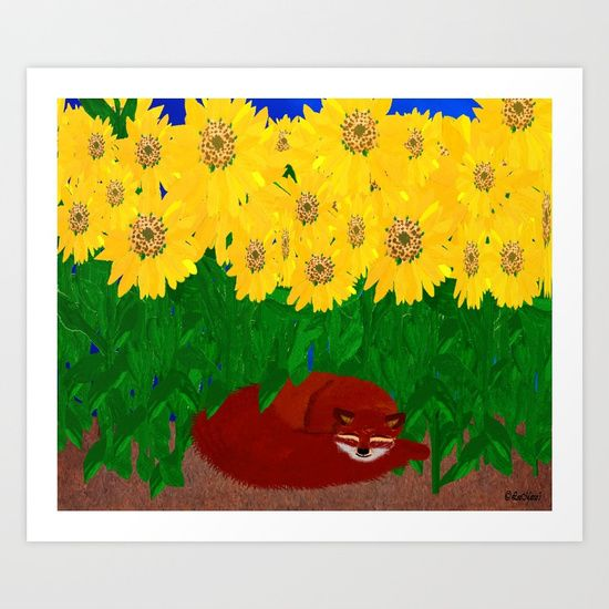Collect your choice of gallery quality Giclée, or fine art prints custom trimmed by hand in a variety of sizes with a white border for framing.    https://society6.com/product/sunflowers-shading-a-fox_print?curator=listenleemarie