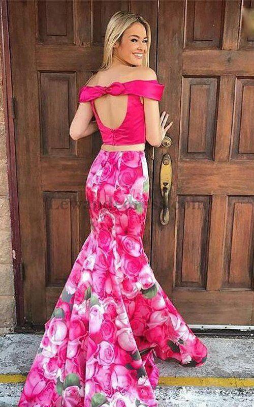 2018 Mermaid 2 Piece 51489 Floral Printed Open Back Satin Prom Dress [Lewande 51849] - $199.00 : LewandeDress.com