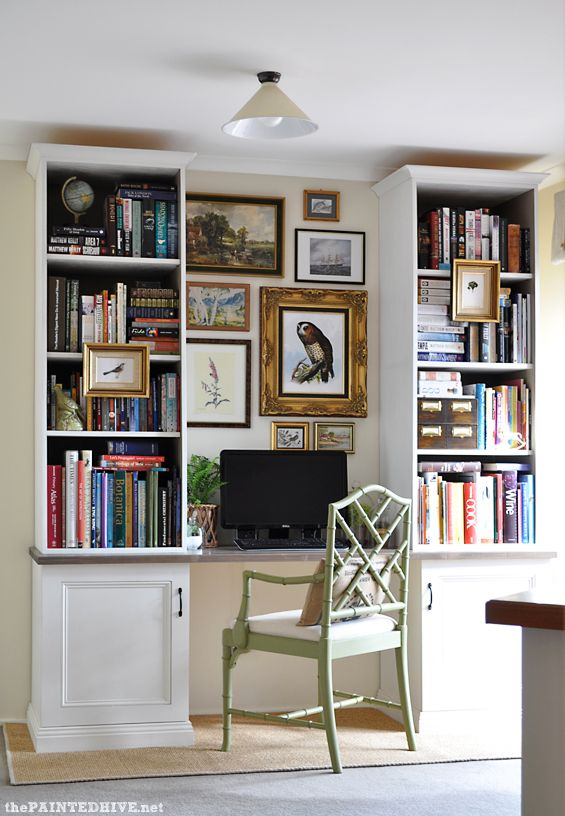 Painted Hive Home Office Gorgeous Faux Built In