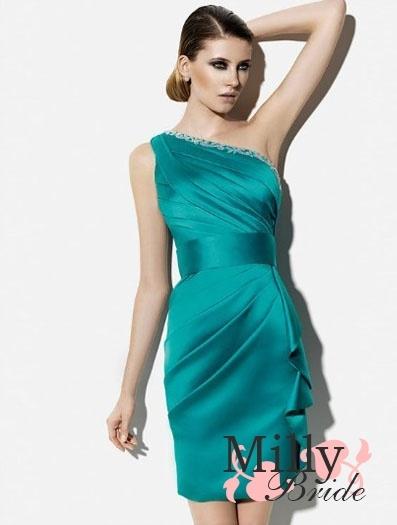 $109.00 Short mini hunter satin beaded one shoulder 2012 Prom Dresses