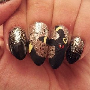 Umbreon: | 23 Awesome Nail Art Designs Inspired By Pokémon (Only a few of these looked sloppy. Most were cute.)