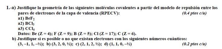 Ejercicio 1, propuesta 2, JUNIO Fase Específica 2009-2010. Examen PAU de Química de Canarias. Temas: estructura atómica.