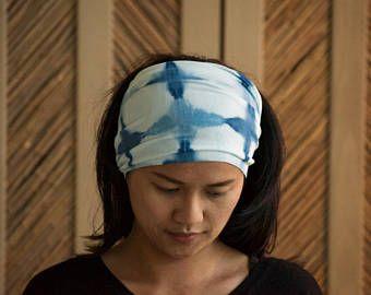 Indigo Shibori Head buff,Indigo dye, Versatile headband, Sweat headband, Tie dyed headband,Versatile headbands,Head dye Indigo, Buff