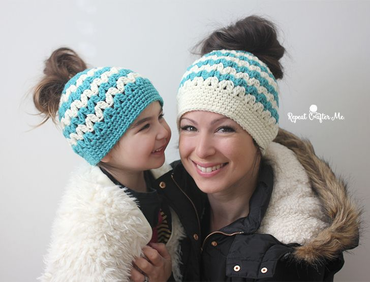 ab53015bcc1 Crochet Mommy and Me Messy Bun Hats