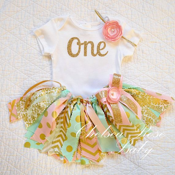 Pink, mint and gold fabric tutu outfit for 1st birthday. Etsy