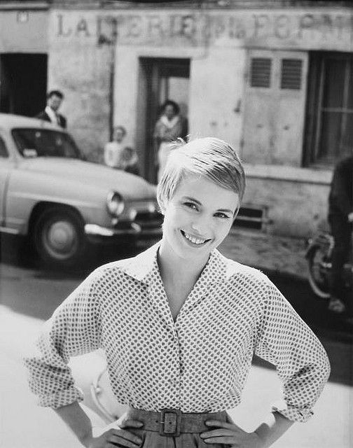 Jean Seberg; Polka dot long sleeve button up, pleated and belted shorts/skirt