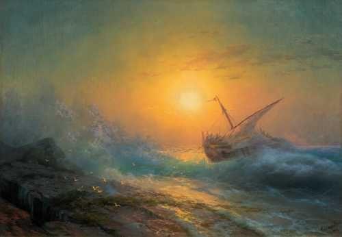 AIVAZOVSKY, IVAN KONSTANTINOVICH  (1817 Feodosija 1900)  'Stürmische See im Abendrot'. 1896.  Öl auf Leinwand. 68 x 99 cm.  Verkauft für CHF 700 000 (exkl. Aufgeld)