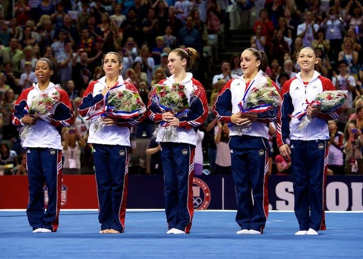 2012 USA Women's Olympic Gymnastics Team. Gabby Douglas, Aly Raisman, Mckayla Maroney, Jordan Weiber and Kyla Ross.