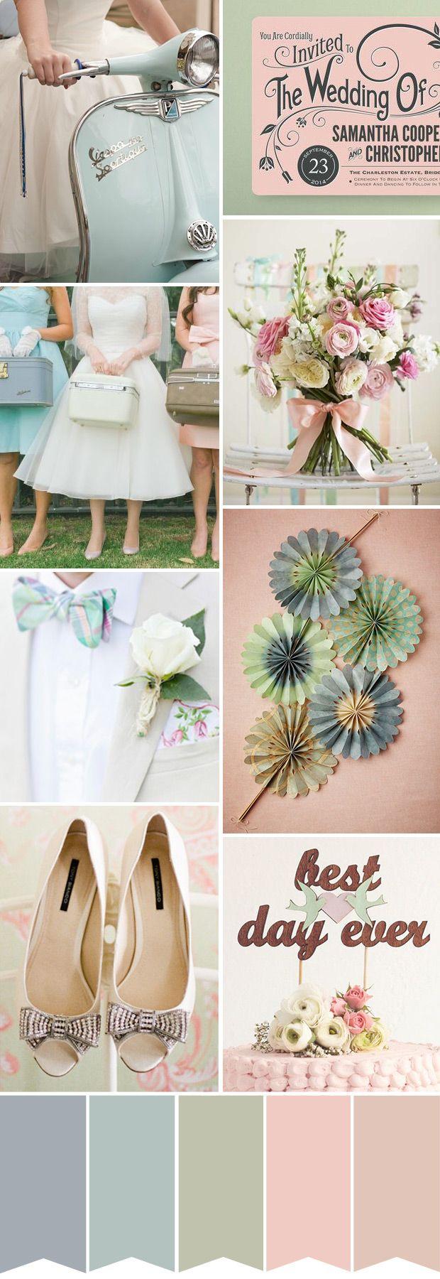 retro pastels wedding inspiration   onefabday.com