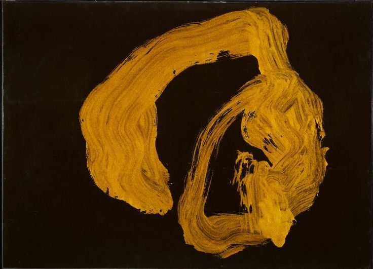 """Morita Shiryu, """"En"""", 75.5 x 104cm, wood and paper panel painted in aluminium flake pigment in polyvinyl acetate medium and yellow alkyd varnish with abstract calligraphy; Japan 20th century Shōwa period, dated 1967 (Courtesy of Gregg Baker Asian Art)"""