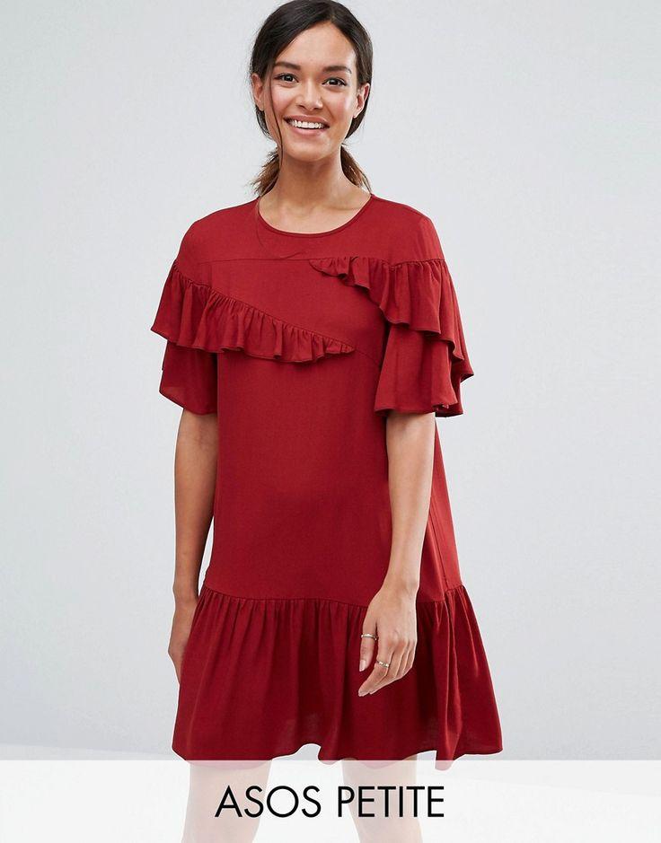 ASOS PETITE Short Sleeve Drop Waist Dress With Ruffles - Purple