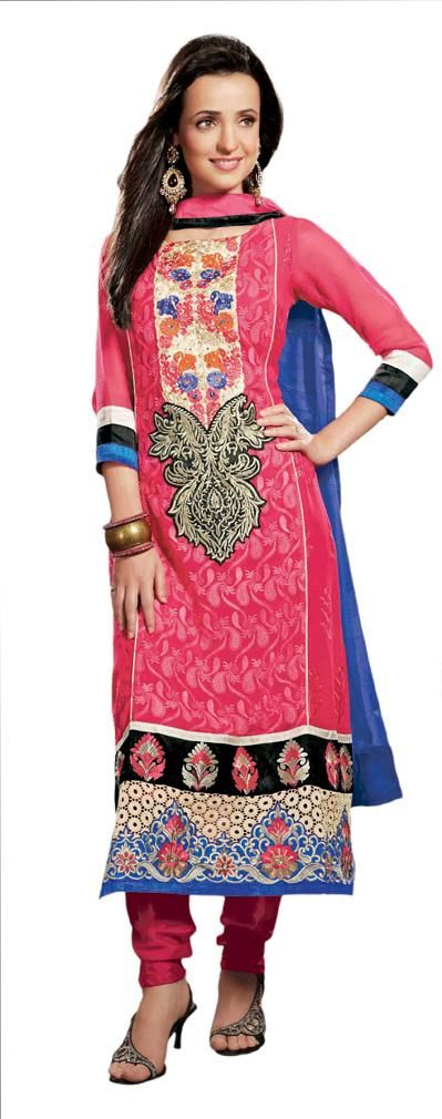 USD 70.38 Pink Resham Work Long Suit with Matching Churidar 30715