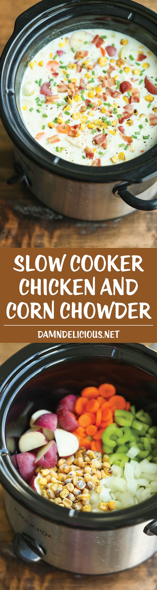 Slow Cooker Chicken and Corn Chowder - Such a hearty, comforting and CREAMY soup! Let the crock pot do all the work! EASY!