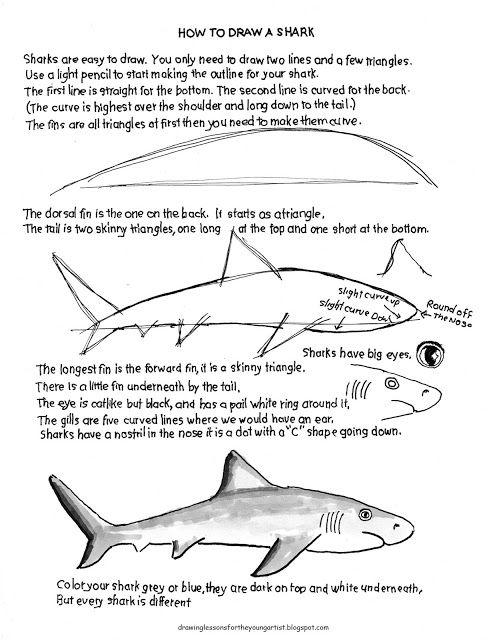 Как рисовать Worksheets для молодого художника: рыба