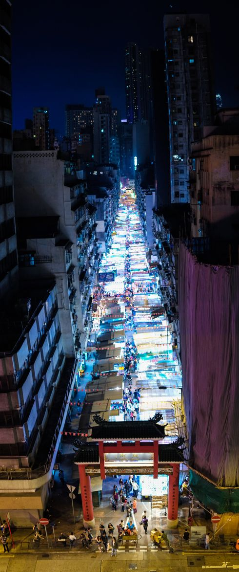 The atmospheric Temple Street night market from a bird's eye view, Hong Kong