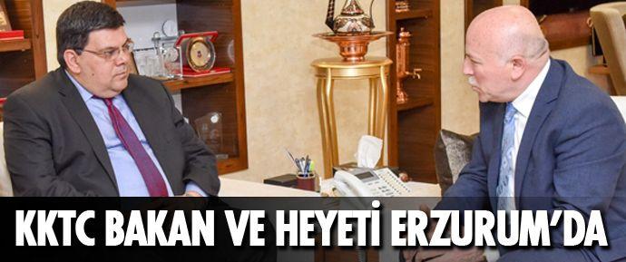 Kuzey Kıbrıs Türk Cumhuriyeti (KKTC) Milli Eğitim ve Kültür Bakanı Dr. Özdemir Berova, Tatlısu Belediye Başkanı Ahmet Hayri Orçan ve beraberindeki heyetle, Erzurum Büyükşehir Belediye Başkanı Mehmet Sekmen'i ziyaret etti.