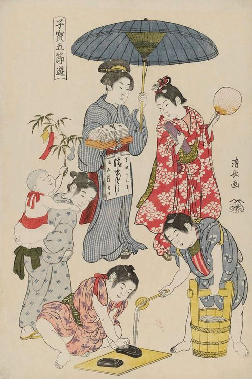 Children's Games, Tanabata. Ukiyo-e woodblock print, 1801, Japan, by artist Torii Kiyonaga.